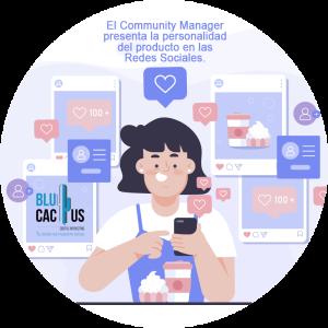 BluCactus - ¿Qué es un Community Manager? - mujer usando su celular con redes sociales