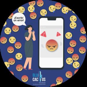 BluCactus -mujer usando su celular con emojis molestos