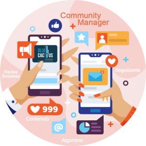 BluCactus - manos con celulares y redes sociales abiertas
