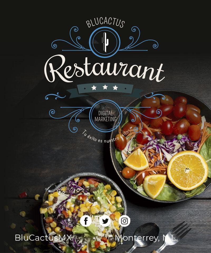 2 platillos de verduras en una mesa de madera con el logotipo de Blucactus de restaurante estilo vintage