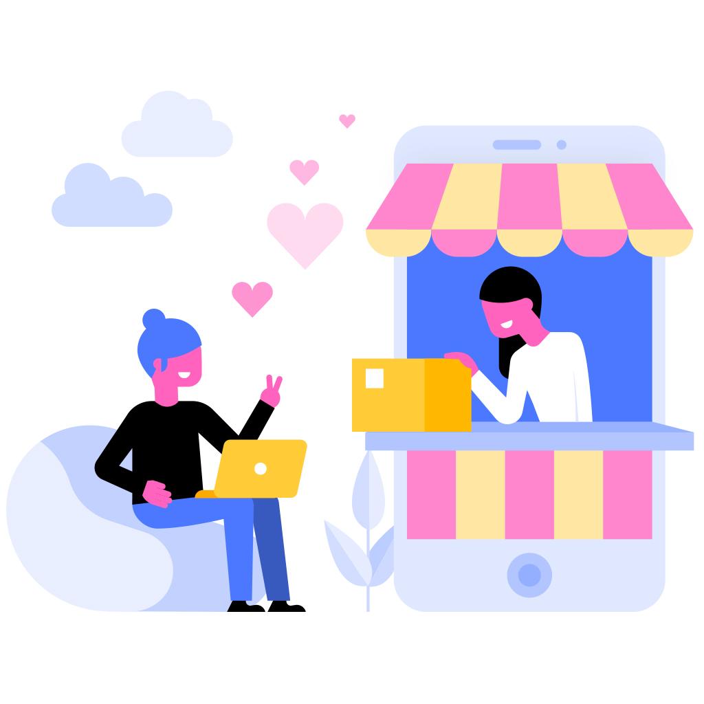 Una mujer en una tienda asistiendo a otra mujer sentada en un sofá.