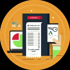 Blucactus-Haciendo-ofertas-para-palabras-clave -una computadora con datos e información