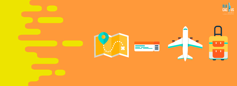 BluCactus con fondo naranja y unos símbolos de viaje