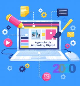 Blucactus - tendencias del diseño gráfico en 2020 - Agencia de Marketing Digital - una computadora con elementos de diseño en un fondo azul
