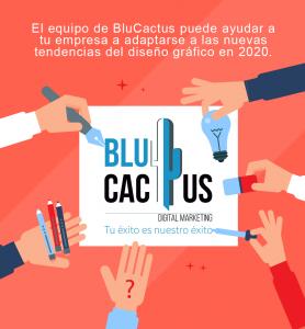 BluCactus - Manos en un pizarrón con el logotipo de una agencia de marketing digital