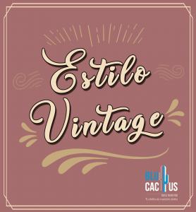 Blucactus - Como se logra el estilo vintage - ejemplo con las palabras estilo vintage en color beige con un fondo café claro