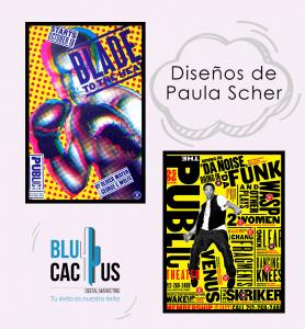 Blucactus - ejemplo de las Directrices artísticas con los diseños de Paula Scher