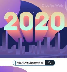 BluCactus - tendencias del diseño gráfico en 2020 - Año 2020 en ilustración con una ciudad morada debajo del mismo