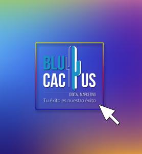 BluCactus - tendencias del diseño gráfico en 2020 - el fenomeno ombre con el logotipo de blucactus en el centro y una flecha blanca señalandolo