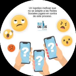 Blucactus-Qué es un logotipo-celulares con emojis al rededor