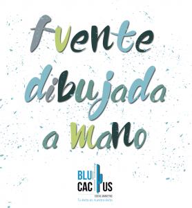 BluCactus - imagen con el texto fuente dibujada a mano y el logotipo de una agencia de mercadotecnia digital