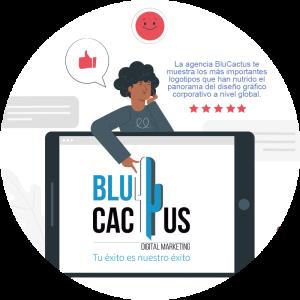 Blucactus-Qué es un logotipo-mujer con logo de blucactus en un ipad