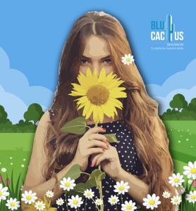 BluCactus - tendencias del diseño gráfico en 2020 - Mujer con un girasol con el efecto desarrollo de técnicas de contraste - mujer sosteniendo un girasol con la técnica de animación vectorial