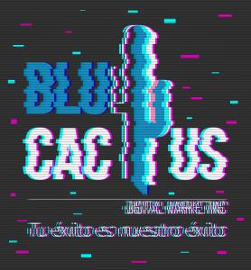 Blucactus - Las formas en que efecto glitch funciona con el logotipo de BluCactus