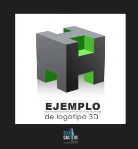Blucactus - Logotipos Isométricos y en 3D de color gris y verde