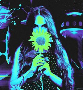 Blucactus - Paletas de color Cyberpunk con una mujer sosteniendo un girasol