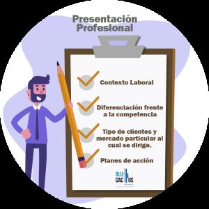 BluCactus - Tipos de presentaciones de Power Point - persona sonriendo junto con una lista de actividades con una paloma roja adentro