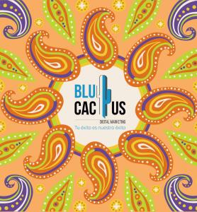 Blucactus - tendencias del diseño gráfico en 2020 - Tendencias de Psicodelización de color naranja y morado con un toque de verde