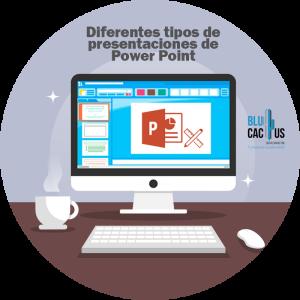 BluCactus - Tipos de presentaciones de Power Point - computadora con power point abierto en un escritorio