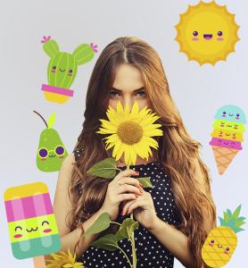BluCactus - tendencias del diseño gráfico en 2020 - Mujer con un girasol con el efecto desarrollo de técnicas de contraste - mujer sosteniendo un girasol con la técnica kawaii