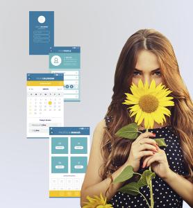BluCactus - tendencias del diseño gráfico en 2020 - Mujer con un girasol con el efecto desarrollo de técnicas de contraste - mujer sosteniendo un girasol con la técnica de UI