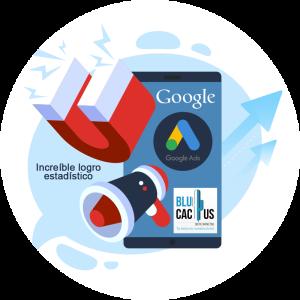 BluCactus - Estrategia efectiva con Google AdWords - telefono celular con un iman y un megafono en el