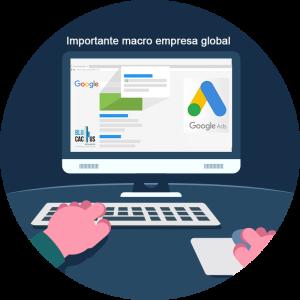 BluCactus - Estrategia efectiva con Google AdWords - computadora con servicio de google abierto con un fondo azul