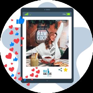 BluCactus - Marketing para restaurantes - tableta con corazones y likes