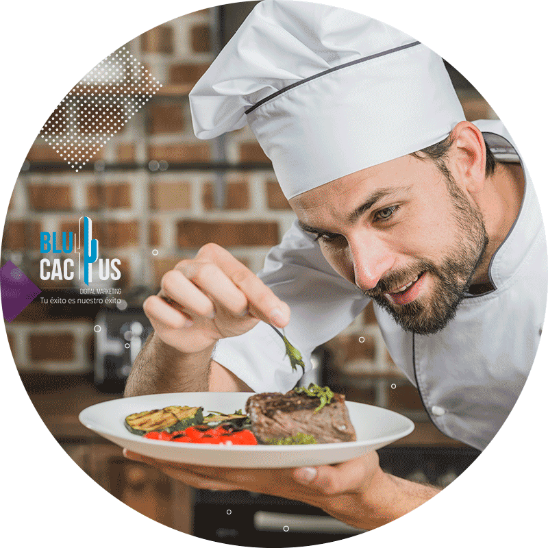BluCactus - Marketing para restaurantes - chef de comida con cena