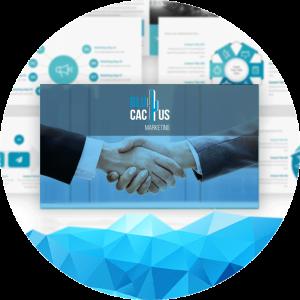 BluCactus - diseños de presentación - presentaciones y saludar con la mano