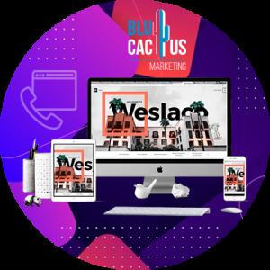 BluCactus - 20 Tendencias del Diseño Web - computadora con version de tendencia de agencia