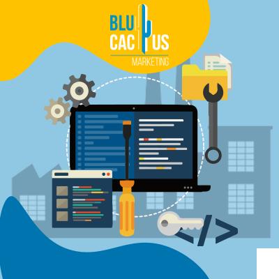 BluCactus - una computadora con herramientas alredor animadas