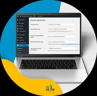 BluCactus - ¿Cómo crear su página web con WordPress? - computadora con informacion importante