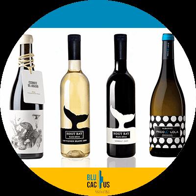 BluCactus - Cómo diseñar una etiqueta para vino - Etiqueta de vino color blanco y negro miimalista