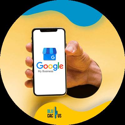 BluCactus - funciones de Google My Business - Pantalla con el logo de google my business